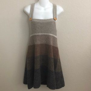 Free people wool striped overall mini dress sz xs
